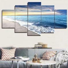 Sea Beach Print Frameless Split Canvas Paintings