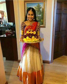 A beautiful combi in half saree Lehenga Saree Design, Half Saree Lehenga, Pattu Saree Blouse Designs, Lehenga Designs, Saree Dress, Anarkali, Bollywood Lehenga, Lehenga Blouse, Mehendi Outfits