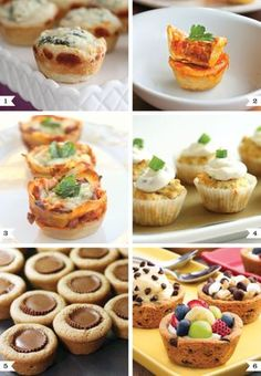 "Yummy Finger Foods: Spinach Dip Mini Bread Bowls Mini Pizza Cups Lasagna Cups Cheddar Herb Bread with Goat Cheese ""Frosting"" Reese's Cookie Cups Cookie Cups Finger Food Appetizers, Appetizers For Party, Healthy Appetizers, Appetizer Ideas, Muffin Pan Recipes, Snacks Für Party, Mini Muffins, Mini Foods, Iftar"
