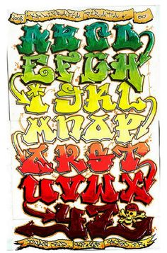 Graffiti Alphabets turned into graffiti art: many styles, colours, themes and calligraphy examples in this inspirational graffiti alphabet selection. Graffiti Alphabet, Grafitti Letters, Graffiti Text, Graffiti Words, Graffiti Lettering Fonts, Graffiti Writing, Tattoo Lettering Fonts, Graffiti Styles, Cool Lettering