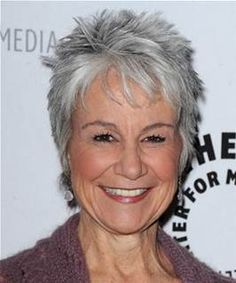 Lovely Andrea Romano Short Straight Casual Hairstyle With Layered Bangs   Grey Hair  Color