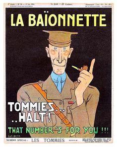 Gus Bofa 1916 Tommies Halt! World War I British Soldiers, La Baïonnette