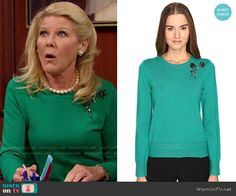 Pam's green flower embellished sweater on The Bold and the Beautiful.  Outfit Details: https://wornontv.net/65622/ #TheBoldandtheBeautiful