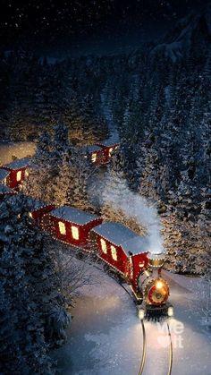 Christmas Scenery, Cosy Christmas, Christmas Feeling, Christmas Train, Christmas Lights, Christmas Time, Vintage Christmas, Christmas Decorations, Christmas Stuff