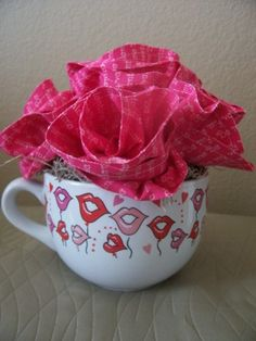 "Embellish Me Patty V - ""Be My Valentine"" fabric flower centerpiece arranged in a kisses white ceramic mug.  Handmade flowers!"