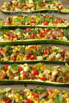 Mediterranean Style Stuffed Zucchini | thecafesucrefarine.com