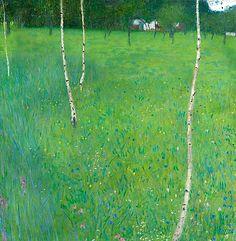 Gustav Klimt, Farmhouse with Birch Trees - Young Birch Trees, 1900
