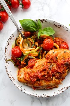 Tomato Basil Garlic Chicken over zucchini noodles| Whole 30 & Low Carb @asaucykitchen