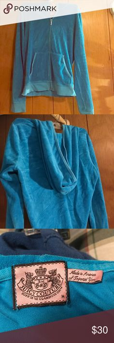 Authentic Juicy Couture zip up Medium Juicy couture light blue terry cloth zip up. Gently worn. Juicy Couture Tops Sweatshirts & Hoodies