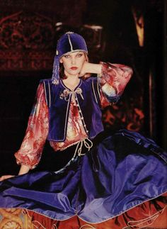 L'officiel 1976 in Moscow, Yves Saint Laurent Rive Gauche velvet outfit