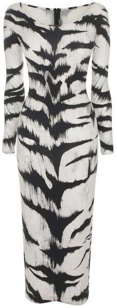 ALEXANDER MCQUEEN Tiger Print Jersey Pencil Dress    <3