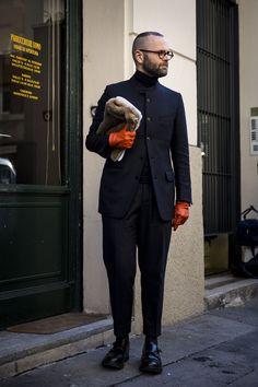 紺スタンドカラージャケット×黒スラックス×黒ダブルモンクストラップ