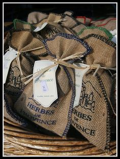 Herbes de Provence - Cassis, France bought so many of these! Spices Packaging, Mediterranean Wedding, Provence Wedding, Provence France, French Wedding, Textiles, Hostess Gifts, Gift Bags, Twine