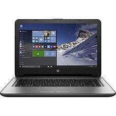 "HP HP 14-af110nr 14"" HD Display AMD E1-6015, 32GB SSD, 2 GB RAM, Windows 10 Notebook Crossed Brush Line Design/Turbo Silver"