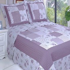 Chic Shabby Purple Plum Patchwork Microfiber Reversible Quilt Coverlet and Shams Set Ovesized - Easy care microfiber fabric