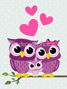 Симпатичные совы семья — стоковая иллюстрация #26684235