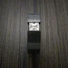 Black Zirconium Ring Tension Setting Band with Princess Cut Moissanite Stone - Revolution Jewelry  - 5