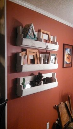 Re-purposed wood pallet shelves my hubby and I made.