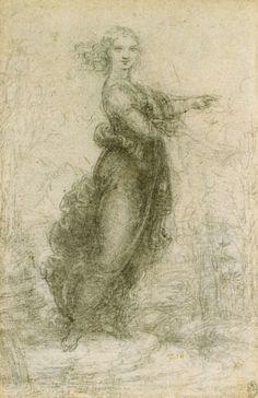 Leonard de Vinci / Leonardo da Vinci Jeune fille ( dite 'Pointing Lady' ) - v… The Royal Collection, Mona Lisa, Italian Renaissance, Caravaggio, Old Master, Michelangelo, Les Oeuvres, Art History, Art Drawings