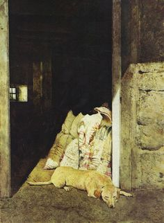 Afternoon snooze... Dog in barn door - by artist Andrew Wyeth