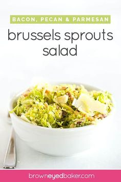 Brussels Sprout Salad with Bacon & Pecans Shaved Brussels Sprouts Salad tossed with bacon, chopped pecans and Parmesan cheese. Tossed with a lemon-maple vinaigrette. Perfect for Thanksgiving! via Michelle Sprouts Salad, Brussel Sprout Salad, Brussels Sprouts, Salad Recipes For Dinner, Healthy Salad Recipes, Healthy Food, Potato Side Dishes, Vegetable Side Dishes, Healthy Vegetables