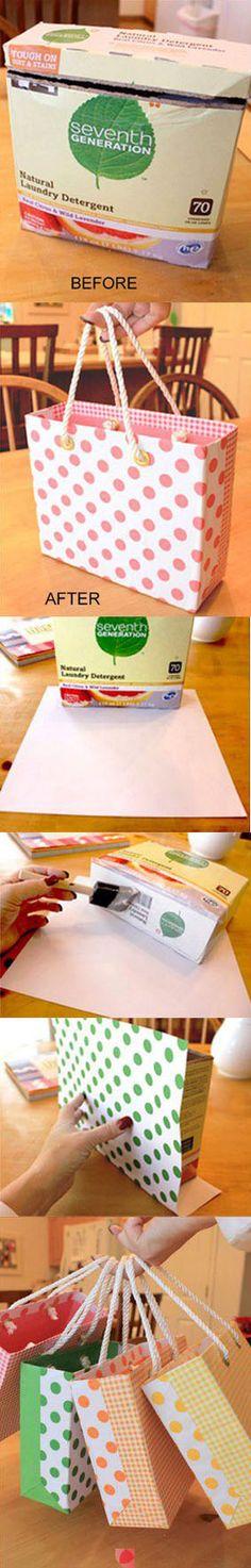 Como transformar uma caixa de papelão em sacola linda DIY