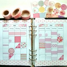 Filofax planner decorated with washi tape