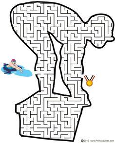 Summer Printable Worksheets | Olympic Swimminging Maze | Swimmer shaped maze