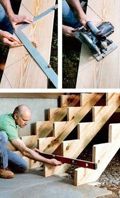 Woodworking Drawings - Comment construire un escalier? Plus Woodworking Drawings - Get A Lifetime Of Project Ideas and Inspiration! Stairs Stringer, Building Stairs, Home Repairs, Home Projects, Woodworking Projects, Fine Woodworking, Woodworking Basics, Woodworking Techniques, Woodworking Furniture