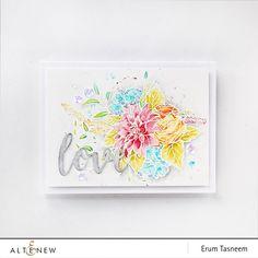 Altenew Blooming Bouquet Stamp Set and Script Words Die Set. Watercoloured card by Erum Tasneem @pr0digy0