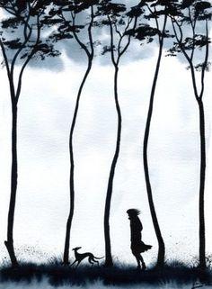 GREYHOUND LURCHER WHIPPET DOGS TREES 6212 Dianne Heap | eBay