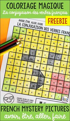 French verb activity for beginners French colour by code verbs