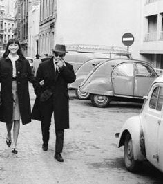Anna Karina and Jean-Luc Godard in Paris, 1963.