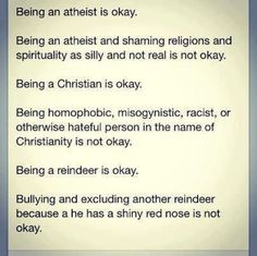 Important points for atheists, Christians, and reindeer.