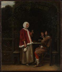 Pieter de Hooch   A Woman and Two Men in an Arbor   The Met