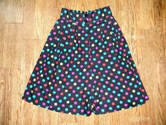 Vintage High Waisted Shorts - Vintage 80s Rainbow Polka Dot Shorts - High Waist Bermuda Style Shorts - Size 5. $10.00, via Etsy.