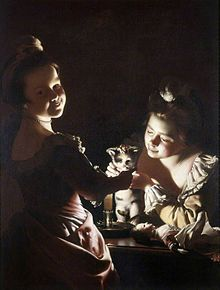Joseph Wright of Derby Two Girls Dressing Kitten by Candlelight 1768