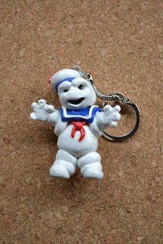 Ghostbusters Stay Puft Marshmallow Man polymer clay keychain