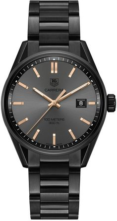 TAG Heuer Women's Carrera Cara Delevingne Special Edition Black Titanium-Carbide Coated Steel Bracelet Watch 41mm WAR101A.BA0728