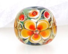 Handmade Lampwork Bead Floral Yellow Orange Red by elizabethsbeads, $20.00