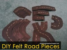 While He Was Napping: Kid's Felt Road/Track Set