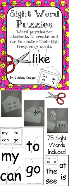 Sight Word Puzzles - A great literacy center and take home sight words practice activity.