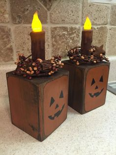 Pumpkin Candle Block with LED light and pip berry ring Fall Wood Crafts, Halloween Wood Crafts, Wood Block Crafts, Wooden Crafts, Fall Halloween, Holiday Crafts, Halloween Decorations, 4x4 Crafts, Thanksgiving Wood Crafts