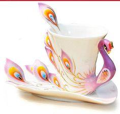 European Style Modern Purple Bone China Wedding Gift Coffee Cup Tea Set Teaset