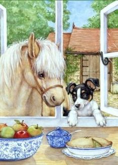 Coloring for adults - Kleuren voor volwassenen Animal Paintings, Animal Drawings, Cute Drawings, Horses And Dogs, Animals And Pets, Cute Animals, Colorful Pictures, Cute Pictures, Horse Art