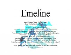 The name Emeline means work or hardworking - Firstnamestore