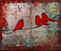 Bird on a Wire Print Red Art Signed 8X10 Let It Be