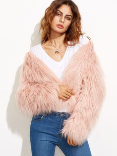 Online shopping for Pink Collarless Faux Fur Coat from a great selection of women's fashion clothing & more at MakeMeChic.COM.