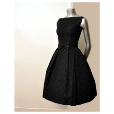 Vintage 50's Black Bow Ribbons Cocktail Party Full Skirt Dress ($100-200) found on Polyvore