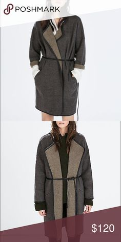 ZARA WOOL BLEND WRAP COAT WITH FAUX LEATHER TRIM Gorgeous Wool blend wrap coat in a wonderful wool blend Tweed. The inside is a contrasting Taupe-Grey colour.. The entire coat is piped in faux leather.. And the belt is a Double strand faux leather tie.. Brand new with tags intact. Zara Jackets & Coats